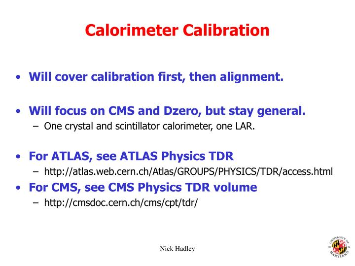 Calorimeter Calibration