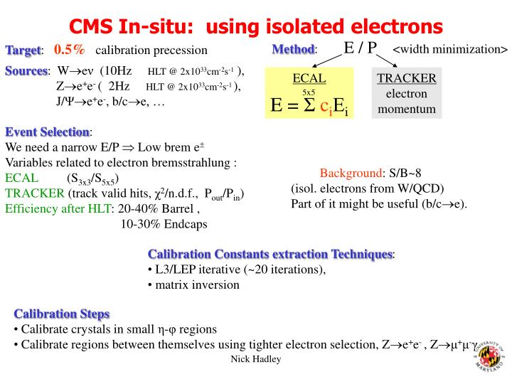 CMS In-situ:  using isolated electrons