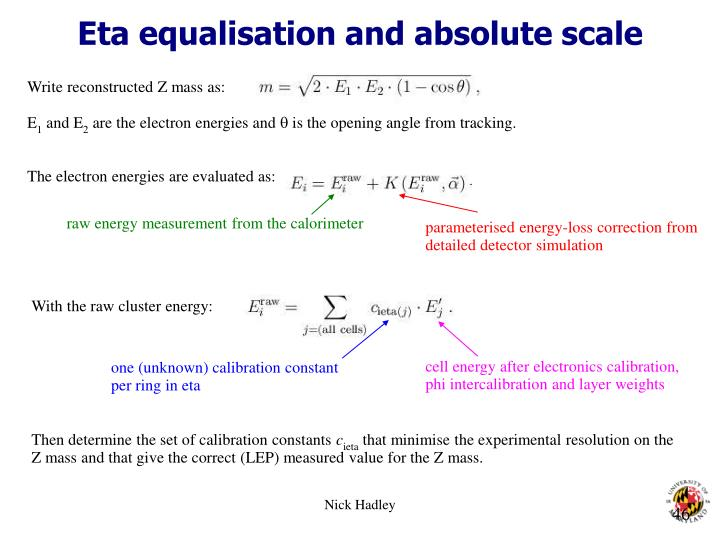 Eta equalisation and absolute scale