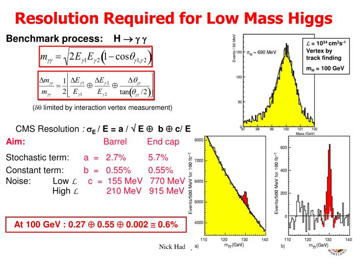 Resolution Required for Low Mass Higgs