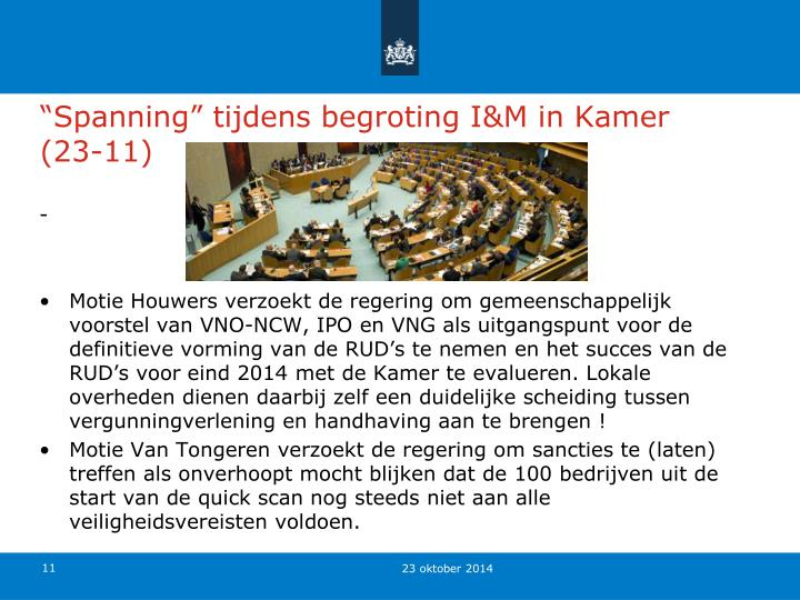 """Spanning"" tijdens begroting I&M in Kamer (23-11)"