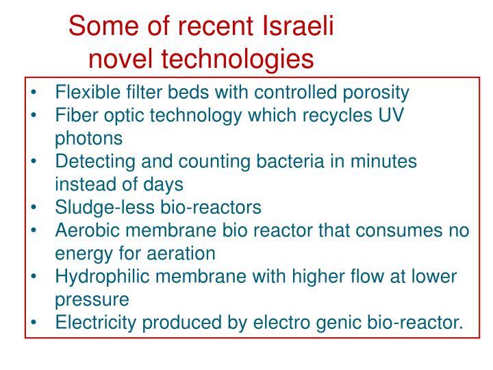 Some of recent Israeli novel technologies