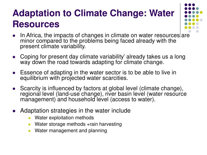 Adaptation to Climate Change: Water Resources