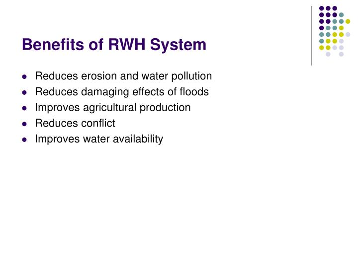 Benefits of RWH System