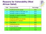 reasons for vulnerability west african sahel