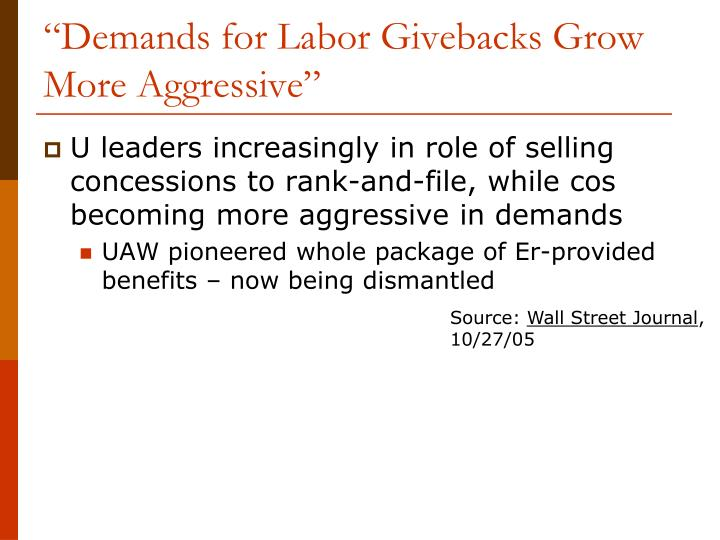 """Demands for Labor Givebacks Grow More Aggressive"""
