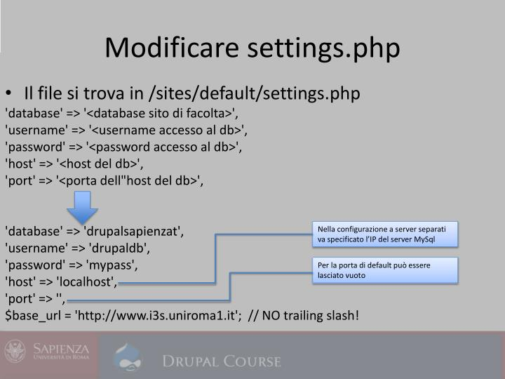 Modificare settings.php