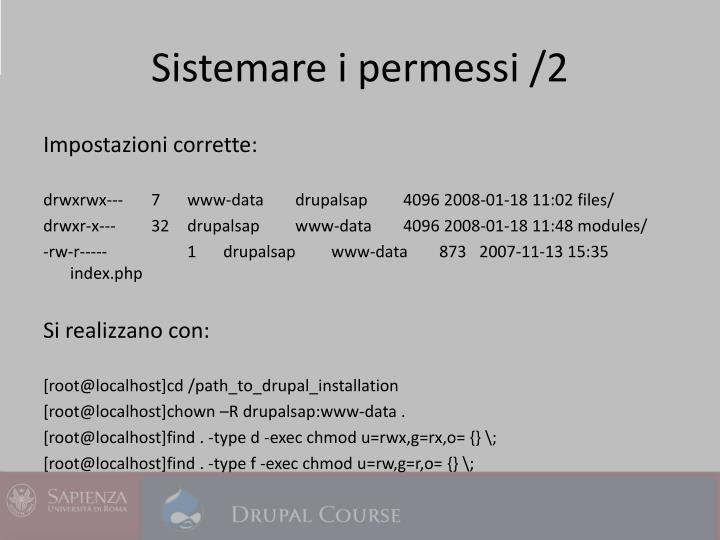 Sistemare i permessi /2