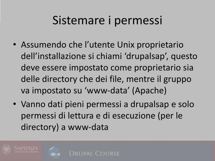 Sistemare i permessi