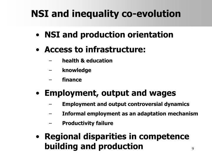 NSI and inequality co-evolution