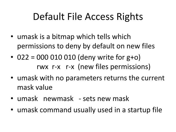 Default File Access Rights