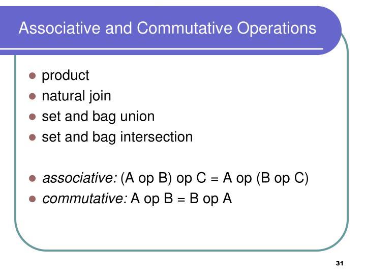 Associative and Commutative Operations