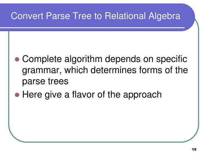 Convert Parse Tree to Relational Algebra