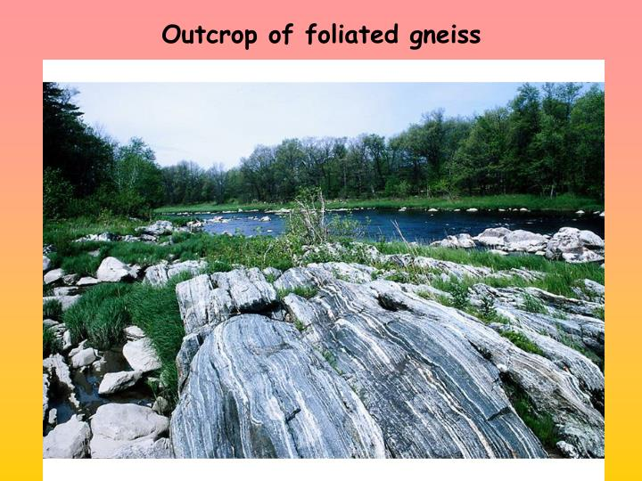 Outcrop of foliated gneiss