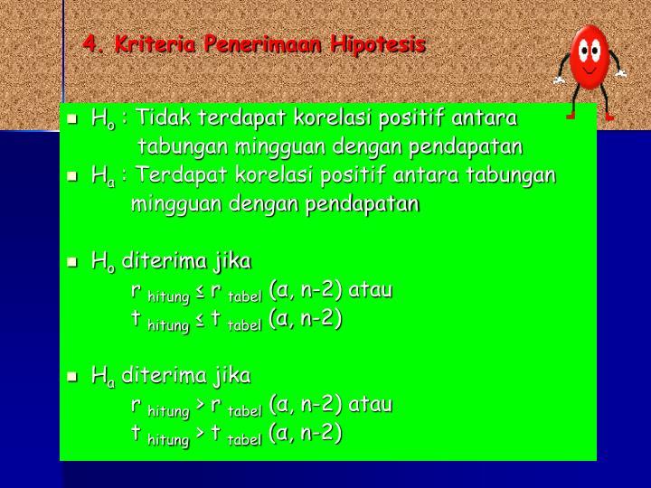 4. Kriteria Penerimaan Hipotesis