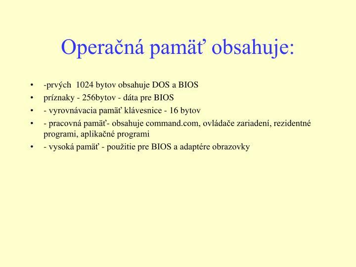 Operačná pamäť obsahuje: