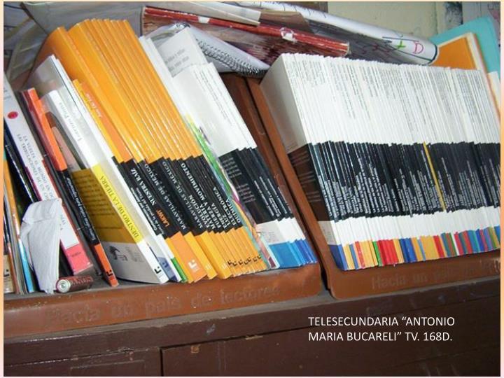 """TELESECUNDARIA """"ANTONIO MARIA BUCARELI"""" TV. 168D."""