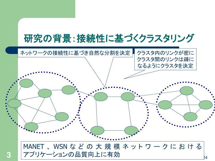 研究の背景:接続性に基づくクラスタリング