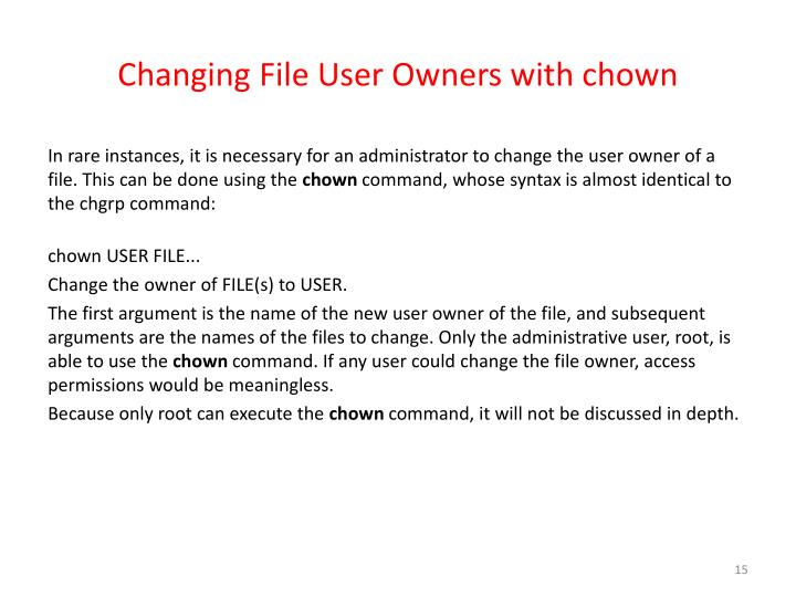 Changing File User Owners with chown