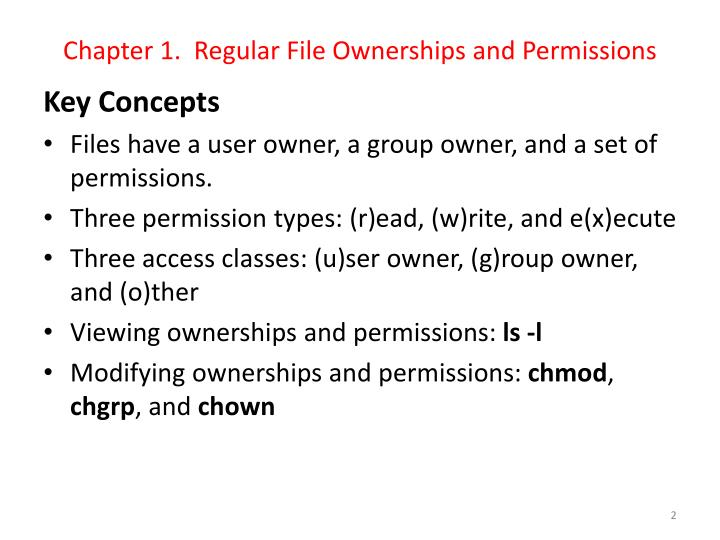 Chapter 1 regular file ownerships and permissions