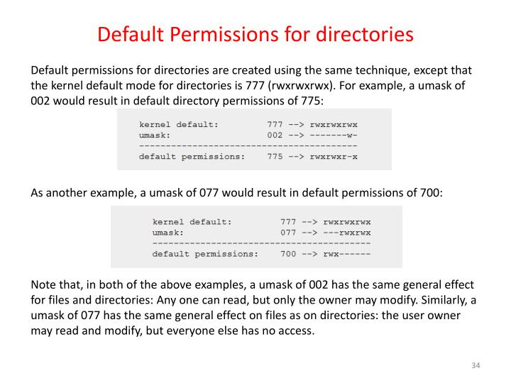 Default Permissions for directories