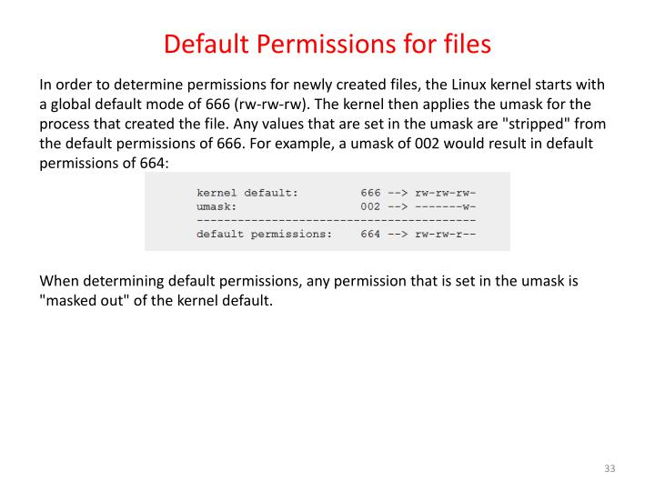 Default Permissions for files