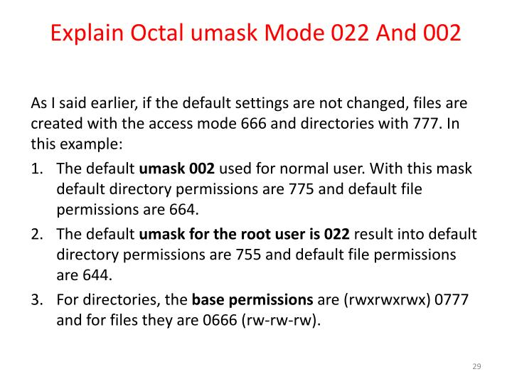 Explain Octal umask Mode 022 And 002