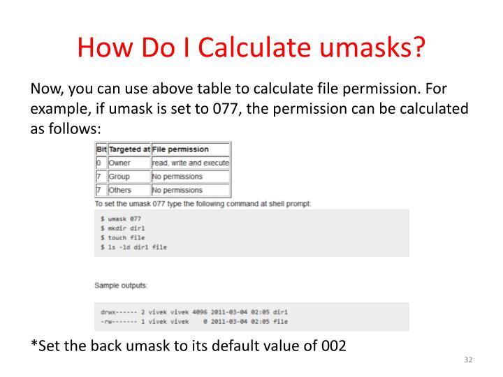 How Do I Calculate umasks?