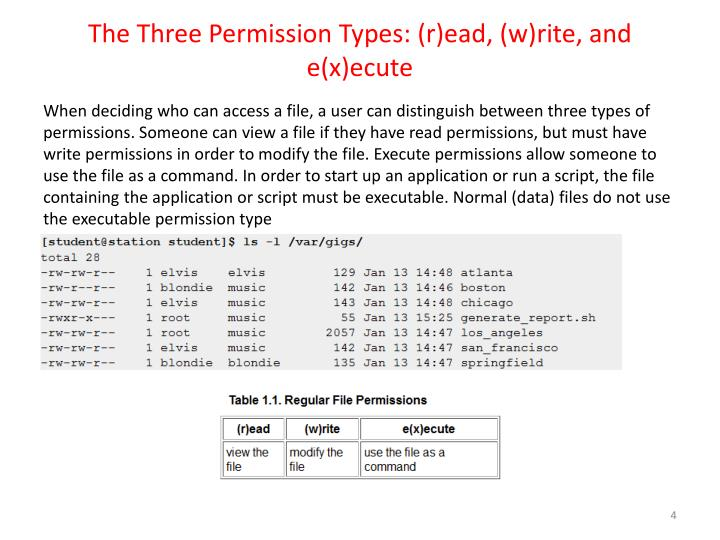 The Three Permission Types: (r)ead, (w)rite, and e(x)ecute