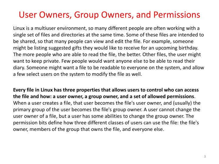 User owners group owners and permissions