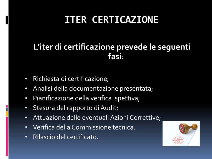 ITER CERTICAZIONE
