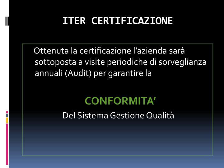 ITER CERTIFICAZIONE