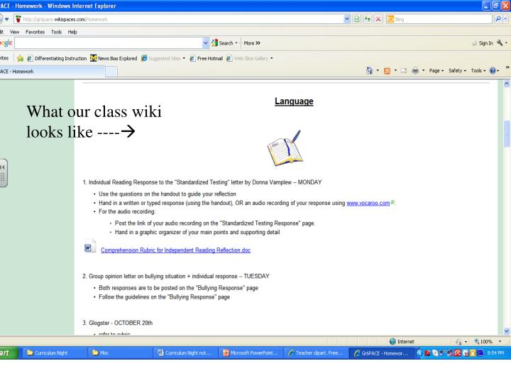 What our class wiki looks like ----