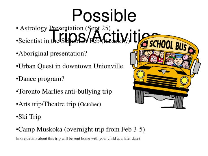Possible Trips/Activities