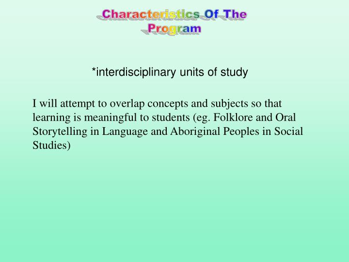 *interdisciplinary units of study