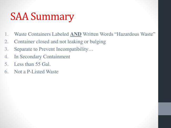 SAA Summary