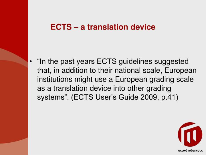 ECTS – a translation device