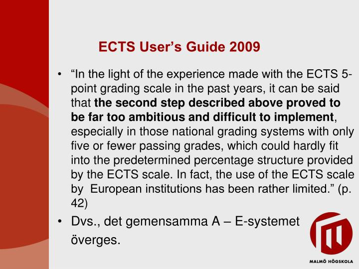 ECTS User's Guide 2009