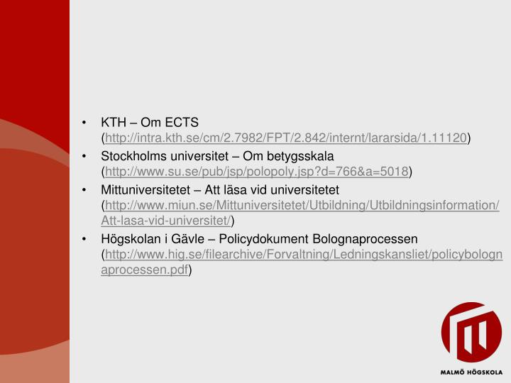 KTH – Om ECTS (