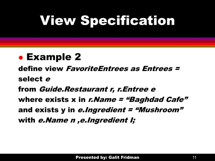 View Specification