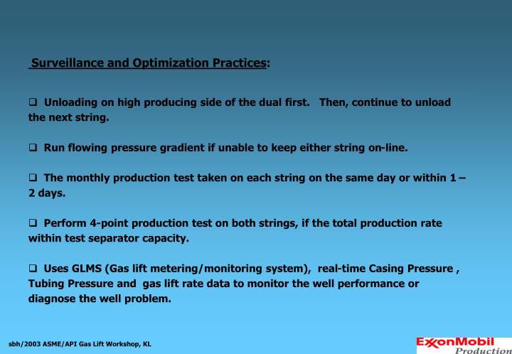 Surveillance and Optimization Practices