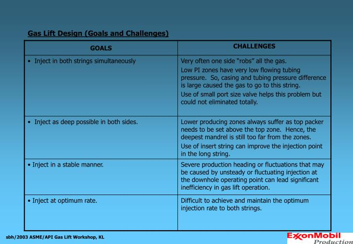 Gas Lift Design (Goals and Challenges)