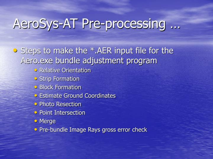 AeroSys-AT Pre-processing …
