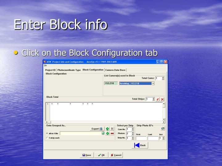 Enter Block info