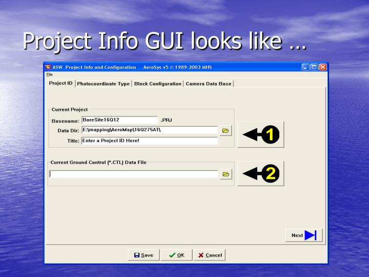 Project Info GUI looks like …