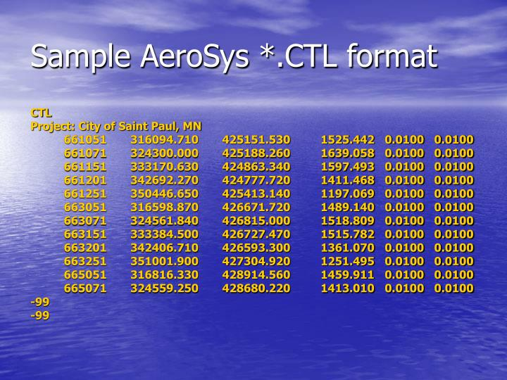 Sample AeroSys *.CTL format