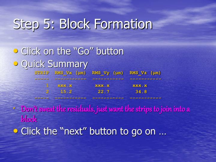 Step 5: Block Formation