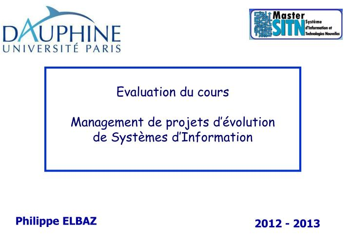 Evaluation du cours