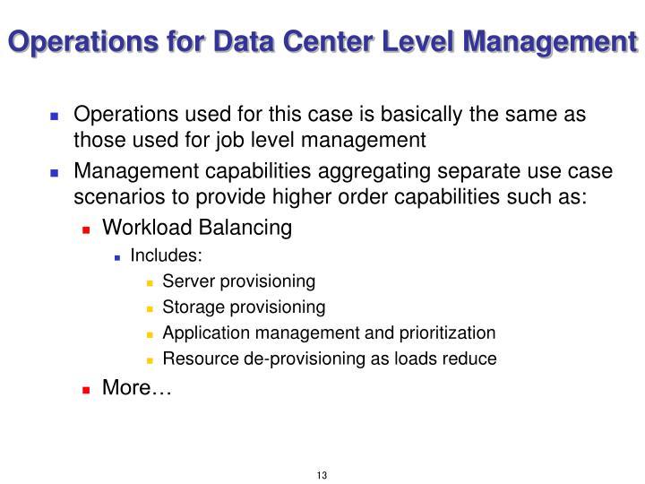 Operations for Data Center Level Management