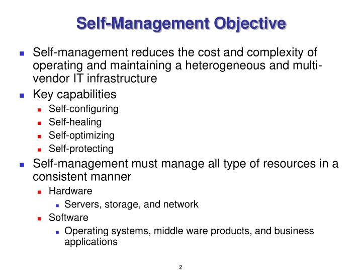 Self management objective